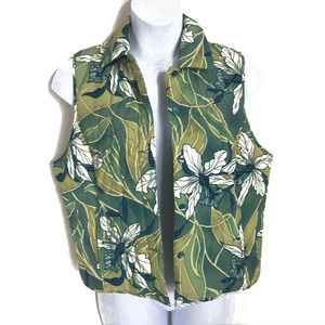 Tommy Bahama 100% Silk Palm Tree Quilted Vest